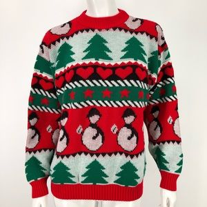Vintage Ugly Christmas Sweater L Snowman 80's 90's